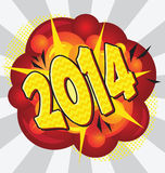 New year 2014. Cartoon explosion pop-art style – 2014 Royalty Free Stock Photos