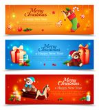 New Year Cartoon Horizontal Banners. New year set of cartoon horizontal banners with holiday elements on bright sparkling background isolated vector illustration vector illustration