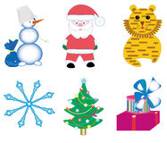 New Year cartoon  icons. Vector illustration Royalty Free Illustration