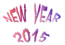 New Year. Cartoon text New Year 2015 with stars, vector illustration Royalty Free Stock Photo