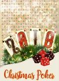 New 2019 year casino background. Christmas Poker vector illustration