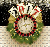 New 2017 year casino greeting background. Vector illustration Royalty Free Stock Images