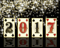 New 2017 year casino greeting card with poker elements. Vector illustration Stock Photo