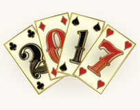 New 2017 year casino poker cards. Vector illustration Royalty Free Stock Images