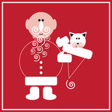 New Year of the Cat. Illustration of Santa Claus with the cat on the red background Royalty Free Stock Photography
