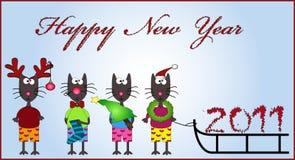 New year cats. New year cartoon funny cats Stock Illustration