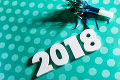 New Year: Celebrate 2018 With A Noisemaker And Polka Dots Stock Image