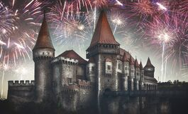 New year celebrating with fireworks at Corvinilor Castle, fine art edit