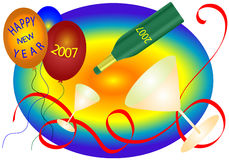 New Year Celebration. New years graphic including champagne glasses,bottle,balloons and ribbon over a gradient rainbow background royalty free illustration