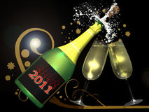 New year celebration. A bottle in the pop  moment and two glasses of  champagne, on the foreground of a golden decoration which  reminds the snow. The text  2011 Stock Photos