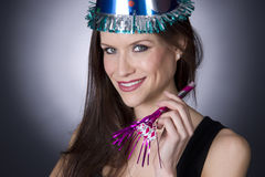 New Year Celebration Party Girl Hat Noise Maker Stock Images