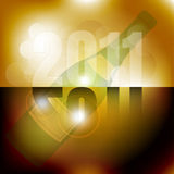 New Year Celebration 2011 Background. 2011 Sign and Bottle of Champagne on Golden Background / Vector Vector Illustration