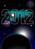 New Year Celebration 2012. Background - Night Sky and 2012 Sign - vector Royalty Free Stock Image