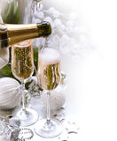 New Year Celebration. Two Champagne Glasses royalty free stock photo