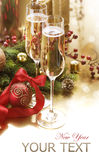 New Year Celebration. Two Champagne Glasses Stock Photo