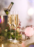 New Year Celebration. Two Champagne Glasses stock images