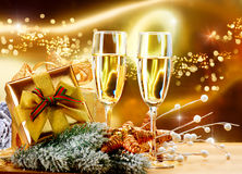 New Year Celebration. New Year and Christmas Celebration. Two Champagne Glasses Royalty Free Stock Photography