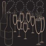 New year celebration. Black and whitechampainge and glasses bubbly new year celebration Royalty Free Stock Photos