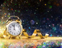 New Year Celebration With Alarm Clock. And Confetti Royalty Free Stock Image