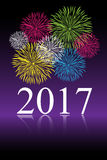 2017 new year celebration. 2017 new year background with colorful fireworks on violet background. EPS file available Stock Images