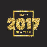 New Year 2017 celebration background with confetti. New Year 2017 celebration background. Happy New Year colorful digital type on black background with gold Royalty Free Stock Photo