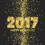 New Year 2017 celebration background with confetti. New Year 2017 celebration background. Happy New Year colorful digital type on black background with gold Stock Photos