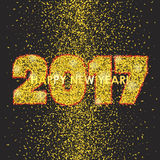 New Year 2017 celebration background with confetti. New Year 2017 celebration background. Happy New Year colorful digital type on black background with gold Stock Photo