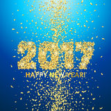 New Year 2017 celebration background with confetti. New Year 2017 celebration background. Happy New Year colorful digital type on blue background with gold Royalty Free Stock Images