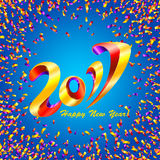 New Year 2017 celebration background with confetti. New Year 2017 celebration background. Happy New Year colorful digital type on blue background with confetti Stock Photo
