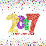 New Year 2017 celebration background with confetti. New Year 2017 celebration background. Happy New Year colorful digital type on white background with confetti Stock Photography