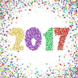 New Year 2017 celebration background with confetti on white. New Year 2017 celebration background. Happy New Year colorful digital type on white background with Royalty Free Stock Image