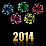 2014 new year celebration background. With fireworks Stock Photos