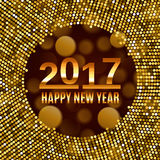 New Year 2017 celebration background. Happy New Year gold type on black blurred background with gold disco lights frame. Greeting card template. Vector Stock Photography