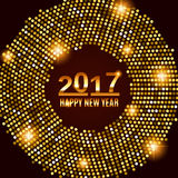 New Year 2017 celebration background. Happy New Year gold type on black background with gold disco lights frame. Greeting card template. Vector illustration Stock Photos