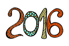 New Year celebration background. Happy New Year 2016 celebration background. Xmas doodles. Vector illustration in zentangle style Royalty Free Stock Images