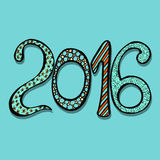 New Year celebration background. Happy New Year 2016 celebration background. Xmas doodles. Vector illustration in zentangle style Royalty Free Stock Photo