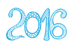 New Year celebration background. Monochrome Happy New Year 2016 celebration background. Xmas doodles. Vector illustration in zentangle style. Blue and white Royalty Free Stock Photography