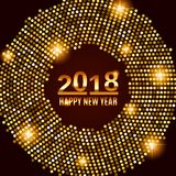 New Year 2018 celebration background. Happy New Year gold type on black background with gold disco lights frame. Greeting card template. Vector illustration Stock Photography