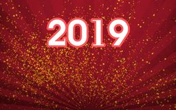 New Year celebration card design. White with red outline& x22;2019& x22; number on gorgeous red fan-shaped texture design with golden powder splash on royalty free illustration