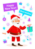 New Year celebration card. Flat funny old man character holding gift on New Year background. Holiday banner or poster Royalty Free Stock Photos