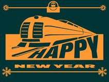 New year celebration card with locomotive silhouette Royalty Free Stock Photography