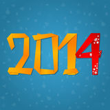 2014 New Year celebration card. With origami paper figures Stock Photo