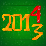 2014 New Year celebration card. With origami paper figures falling down Royalty Free Stock Image