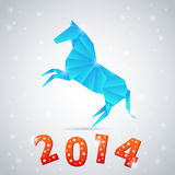 New year 2014 celebration card. New year origami paper horse 2014 celebration card royalty free illustration