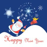 New Year celebration card with Santa Claus and dog. On blue background with snowflakes stock illustration