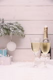 New Year Celebration, Champagne glass in white Stock Images