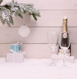 New Year Celebration, Champagne glass on white Royalty Free Stock Photography