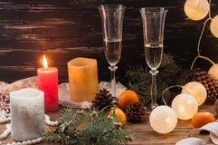 New Year celebration. Champagne in glasses stock photos