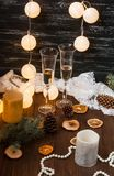 New Year celebration. Champagne in glasses royalty free stock photography