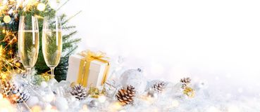 New Year Celebration With Champagne. And Christmas Decoration Stock Photography